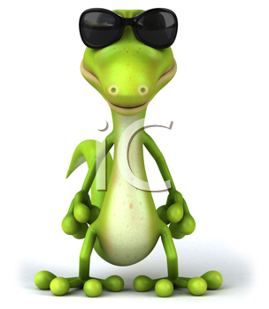 Royalty Free Clipart Image of a Lizard in Sunglasses