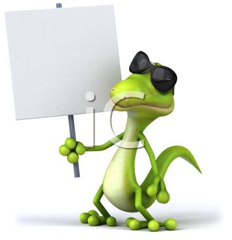 Royalty Free Clipart Image of a Lizard in Sunglasses Holding a Sign