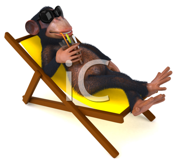 Royalty Free Clipart Image of a Monkey With a Drink on a Beach Chair