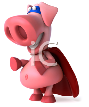 Royalty Free Clipart Image of a Superhero Pig