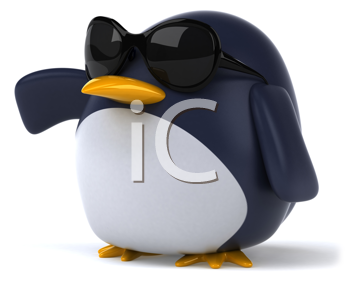 Royalty Free Clipart Image of a Penguin in Sunglasses