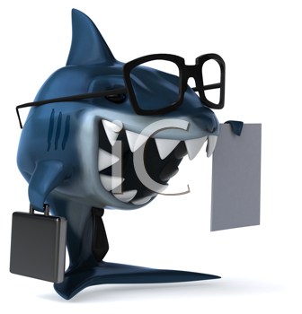 Royalty Free Clipart Image of a Shark With a Contract