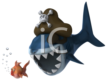 Royalty Free Clipart Image of a Pirate Shark Chasing a Fish