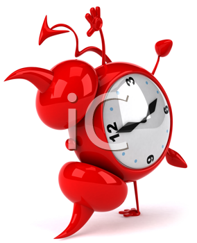 Royalty Free Clipart Image of a Devil Alarm Clock Doing a Handspring