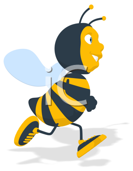 Royalty Free Clipart Image of a Running Bee