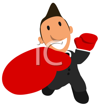 Royalty Free Clipart Image of a Boxing Businessman
