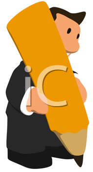 Royalty Free Clipart Image of a Businessman With a Pencil