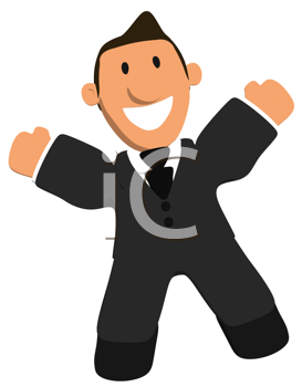 Royalty Free Clipart Image of a Happy Businessman