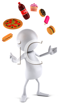 Royalty Free Clipart Image of a Faceless Person Juggling Fast Food