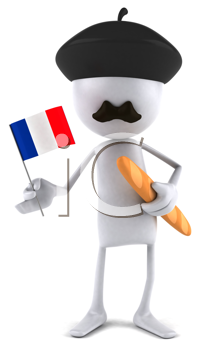 Royalty Free Clipart Image of a Frenchman With a Flag