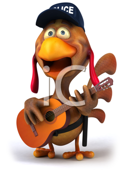 Royalty Free Clipart Image of a Police Chicken With a Guitar