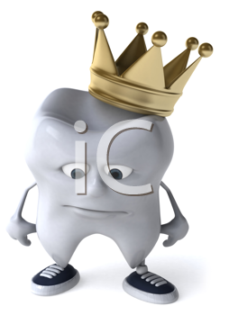Royalty Free Clipart Image of a Dejected Tooth With a Crown
