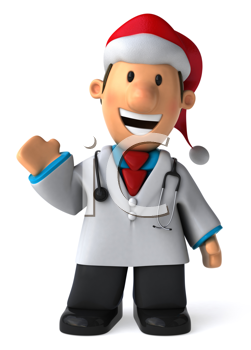 Royalty Free Clipart Image of a Waving Doctor in a Santa Hat