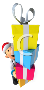 Royalty Free Clipart Image of a Doctor in a Santa Hat Carrying Gifts