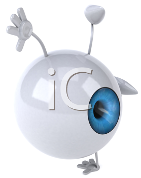 Royalty Free Clipart Image of an Eye Doing a Cartwheel