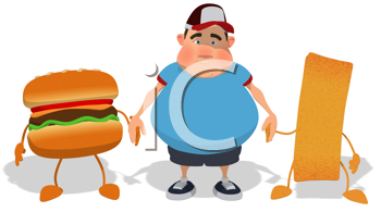 Royalty Free Clipart Image of an Overweight Man Holding Hands With a Burger and French Fry