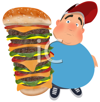 Royalty Free Clipart Image of a Fat Man With a Huge Cheeseburger
