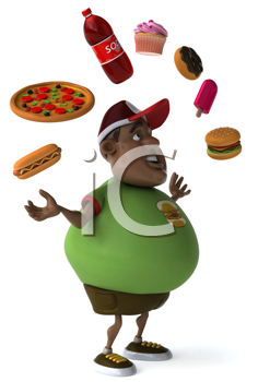 Royalty Free Clipart Image of an Overweight Black Man Juggling Fast Food