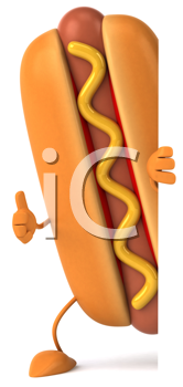 Royalty Free Clipart Image of a Hotdog Giving a Thumbs Up