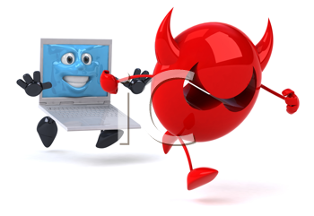 Royalty Free Clipart Image of a Computer Chasing a Devil Virus