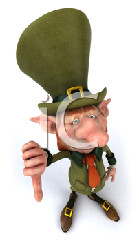 Royalty Free Clipart Image of a Leprechaun Giving a Thumbs Down