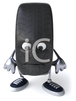 Royalty Free Clipart Image of a Sad Tire