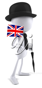 Royalty Free Clipart Image of a White Blank Dude With a British Flag and Parasol, and Wearing a Bowler