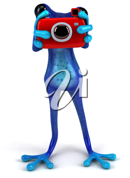 Royalty Free Clipart Image of a Frog Taking a Picture