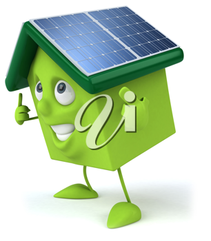 Royalty Free Clipart Image of a House With Solar Panels