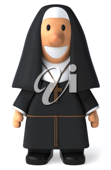 Royalty Free 3d Clipart Image of a Nun