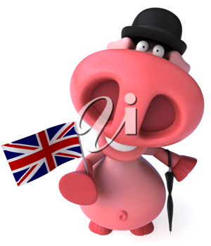 Royalty Free Clipart Image of a British Pig