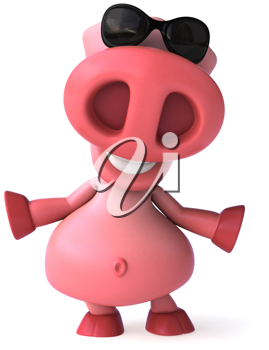 Royalty Free Clipart Image of a Pig in Sunglasses