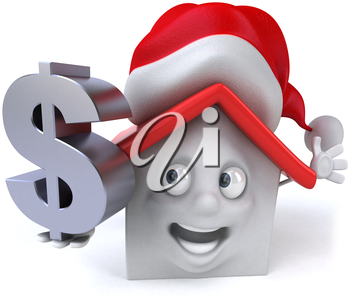 Royalty Free Clipart Image of a House in a Santa Hat With a Dollar Sign