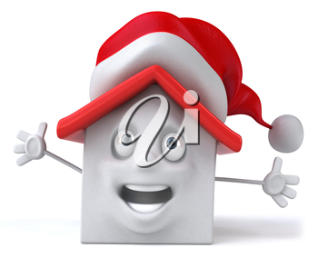 Royalty Free Clipart Image of a Happy Building in a Santa Hat