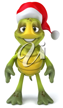 Royalty Free Clipart Image of a Turtle in a Santa Hat