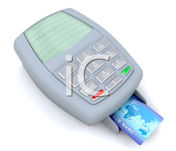 Royalty Free Clipart Image of a Credit Card in a Machine With the Pin Approved