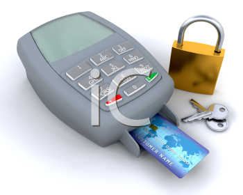 Royalty Free Clipart Image of a Credit Card in a Machine With a Padlock and Keys