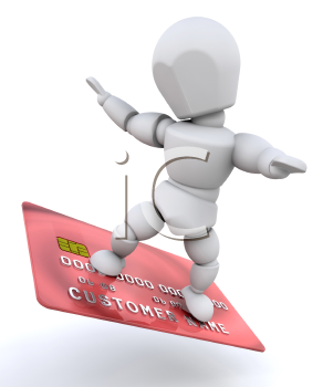 Royalty Free Clipart Image of a Person on a Credit Card