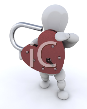 Royalty Free Clipart Image of a Person Holding a Heart Padlock