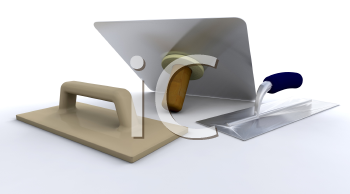 Royalty Free Clipart Image of Plastering Tools