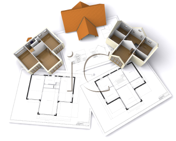 Royalty Free Clipart Image of Houses on Plans
