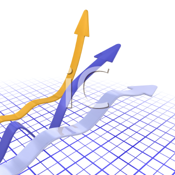 Royalty Free Clipart Image of a Chart With Three Arrows Above It