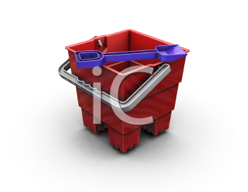 Royalty Free Clipart Image of a Bucket and Spade