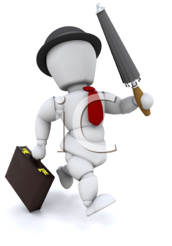 Royalty Free Clipart Image of a Dapper Man in a Bowler Carrying an Umbrella and Briefcase