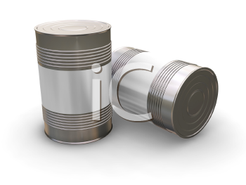Royalty Free Clipart Image of Tin Cans With Blank Labels