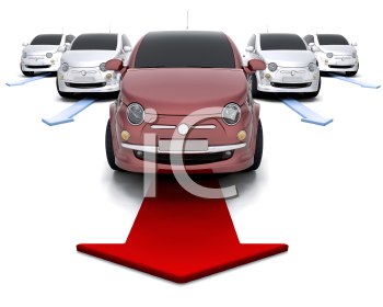 Royalty Free Clipart Image of a Car Leading a Fleet