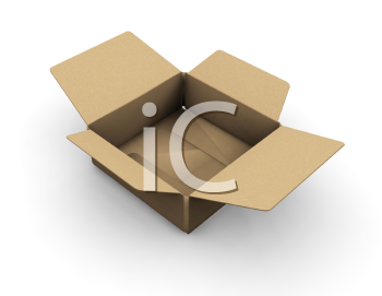Royalty Free Clipart Image of an Open Cardboard Box
