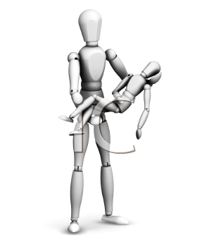 Royalty Free Clipart Image of a Person Carrying a Smaller Person