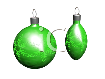 Royalty Free Clipart Image of Green Christmas Tree Ornaments