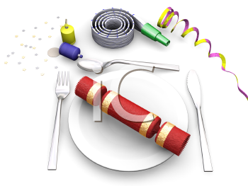 Royalty Free Clipart Image of a Festive Place Setting
